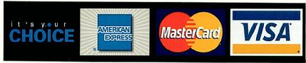 Visa - MasterCard - American Express accepted by Paragon Electronics